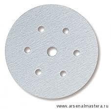 Шлифовальный круг на бумажной основе липучка Mirka Q.SILVER 150мм 6+1 отверстий P100 в комплекте 100шт