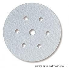 Шлифовальный круг на бумажной основе липучка Mirka Q.SILVER 150мм 6+1 отверстий P400 в комплекте 100шт