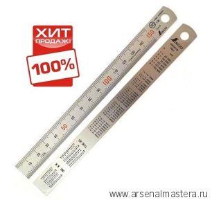 Стальная премиум линейка матовая (шкала - в мм) Shinwa 300 мм Sh 13013