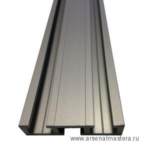 Шина c тремя направляющими T-track 51 мм, анодированная, серебро матовое, 2 м