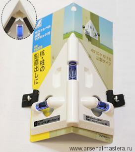 Уровень пузырьковый спиртовой, угловой, Shinwa, 3 колбы, белый пластик, с магнитами М00007800