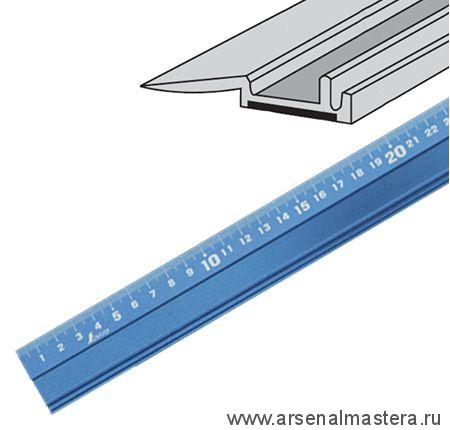 Линейка нескользящая алюминиевая Shinwa, 100см, синяя