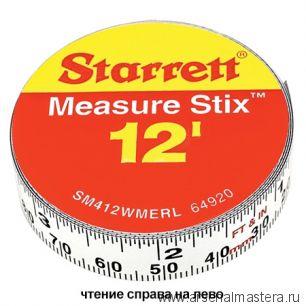 Лента измерительная клеящаяся Starrett Measure Stix, 4мх13мм, цифры - справа налево, метрич/дюйм