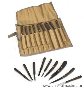 Набор японских резцов HIRO 9 штук в скрутке Miki Tool