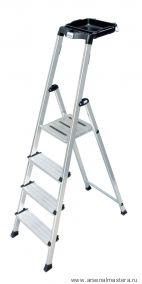 Односторонняя алюминиевая лестница - стремянка с универсальной мульти-грип полкой Krause SECURY, 4 ступени 100 мм