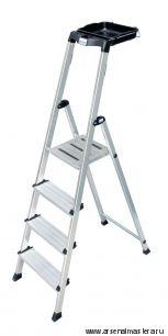 Односторонняя алюминиевая лестница - стремянка с универсальной мульти-грип полкой Krause SECURY, 5 ступеней 100 мм 126535