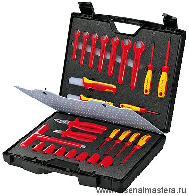 Чемодан компактный с инструментами электроизолированными  26 предметов KNIPEX 98 99 12