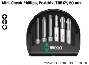 Набор бит Mini-Check Phillips, Pozidriv, TORX®, 6 насадок 50 мм WERA WE-056473