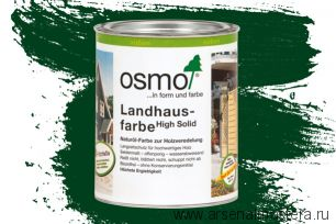 Непрозрачная краска для наружных работ Osmo Landhausfarbe 2404 темно-зеленая 0,75 л
