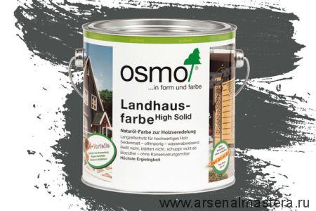 Непрозрачная краска для наружных работ Osmo Landhausfarbe 2704 серая 2,5 л