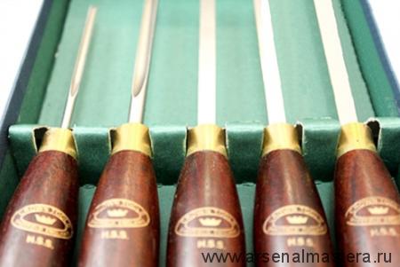 Резцы-мини токарные Crown HSS Miniature 250мм, рукояти  розовое дерево 158мм 5шт М00005018